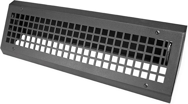 front view low profile metal baseboard register